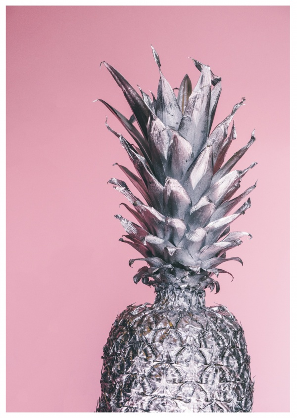 photo silver pineapple on pink ground