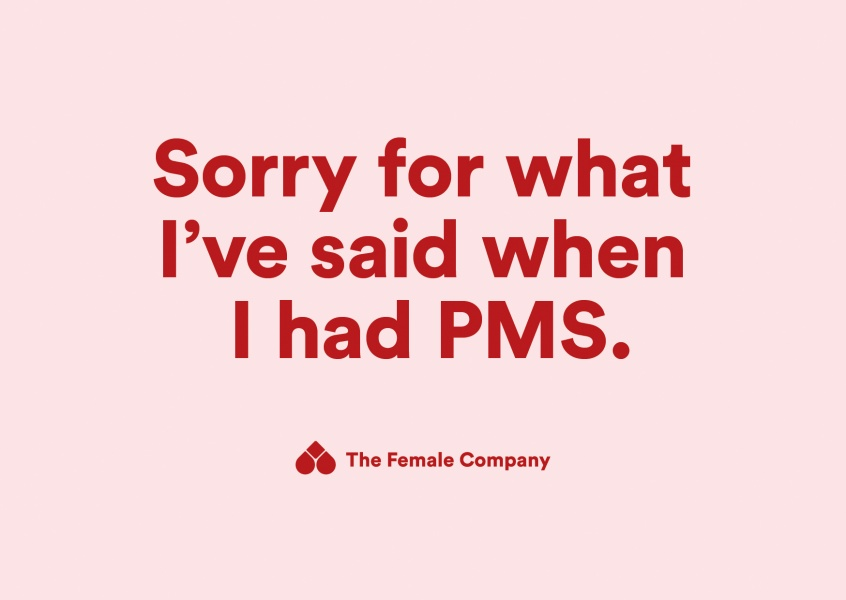 THE FEMALE COMPANY postcard Sorry for what I've said when I had PMS