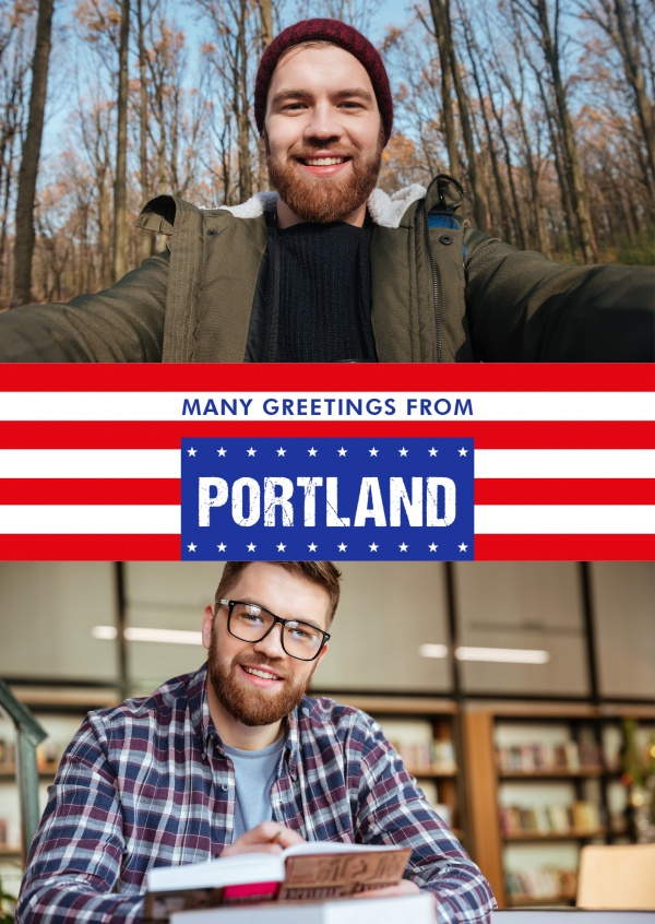 Portland greeting US-flag
