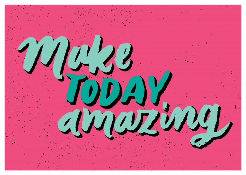 pink postcard with make today amazing in turquoise