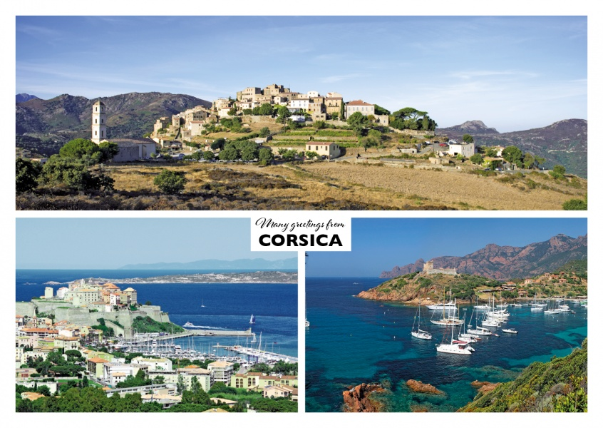 Three photos of the island corsica in the Mediterranean Sea