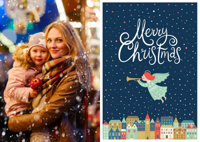 Christmas Postcard classic trompet snowflakes colorful