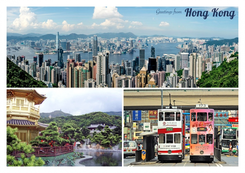 Postcard greetings from Hong Kong china collage