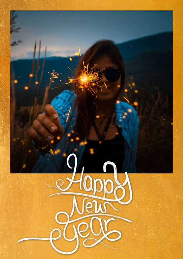 Costumizable New years greeting card in gold with white lettering