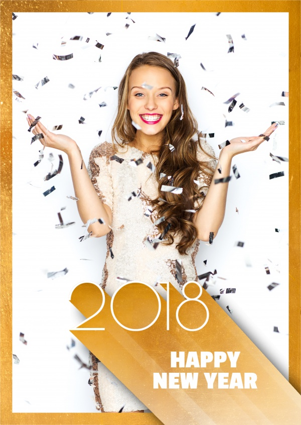 Costumizable New years greeting card with lettering in gold and white