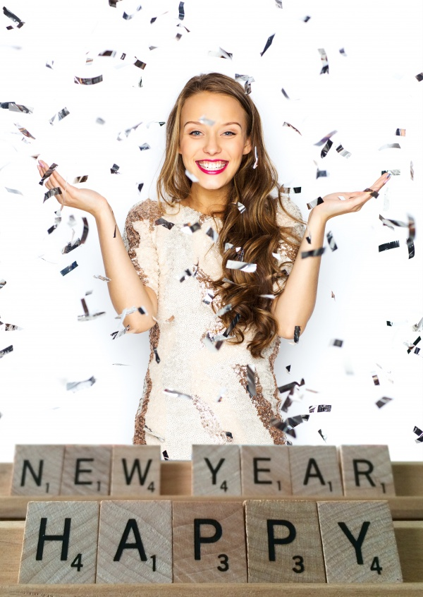 Costumizable New years greeting card with scrabble lettering
