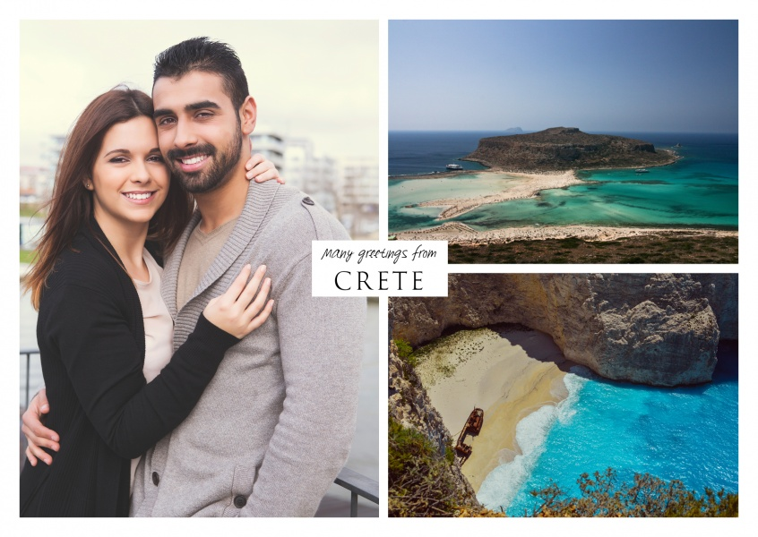 Collage with three photos for personalization – crete