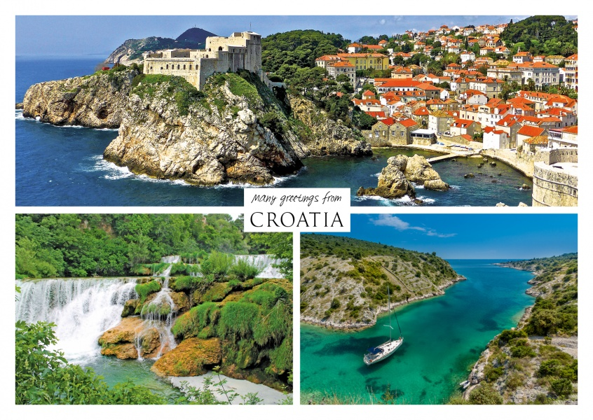 Three photos of croatia – waterfall, port, ocean and city