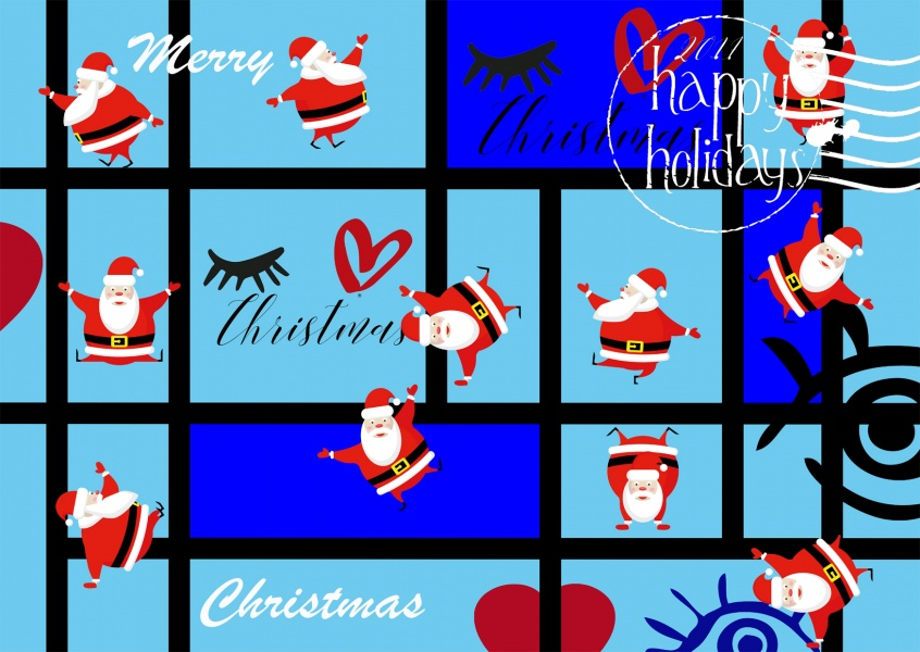 illustration merry christmas santa claus with reindeers