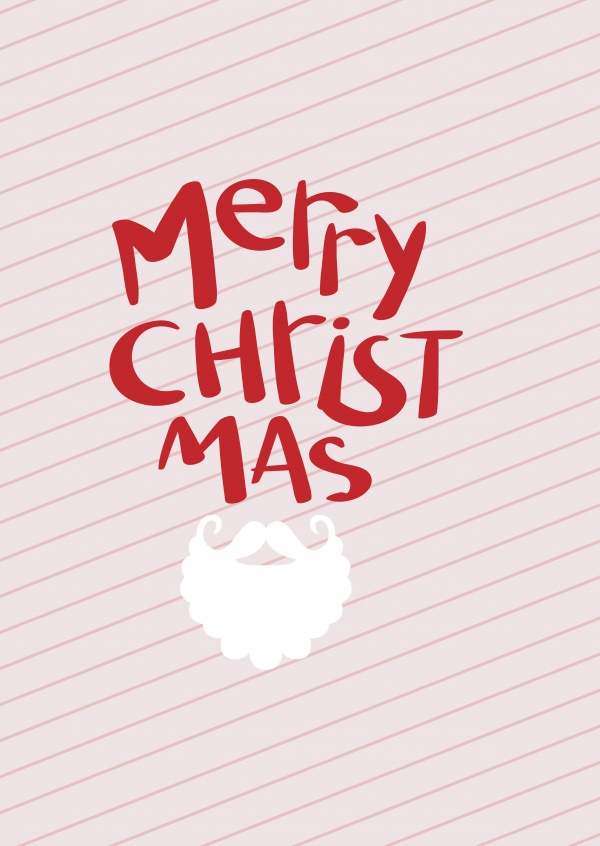Striped Merry Christmas greeting card with a beard