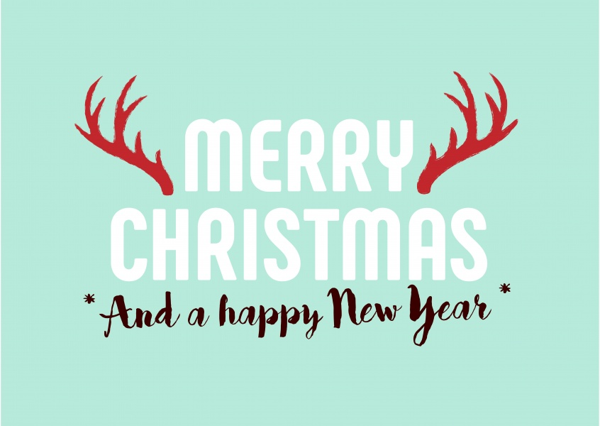 merry christmas and a happy new year christmas and new years greeting card with an antler in turquoise