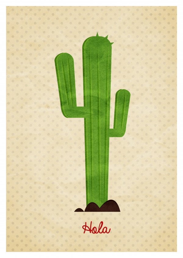 Greeting card with a cactus saying Hola