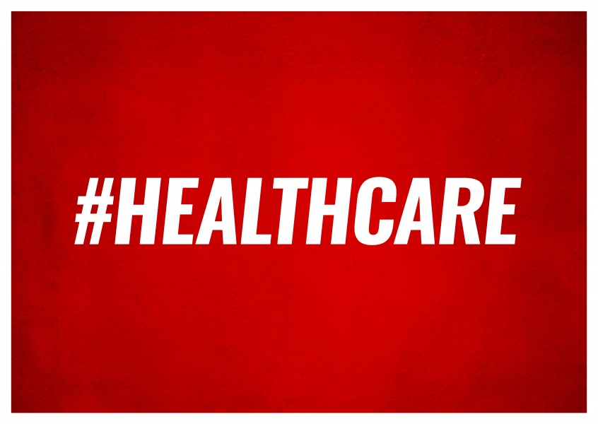 Red greeting card with white hashtag healthcare