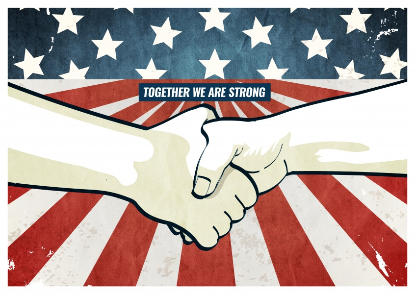 Greeting card with two hands holding each other in front of the American flag saying together we are strong