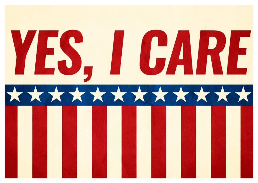 Greeting card with stars and stripes saying Yes, I Care!
