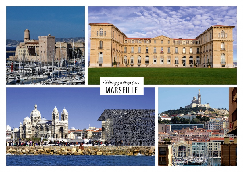 Holiday greeting card from Marseille with photos of castles,a cathedrale and the port