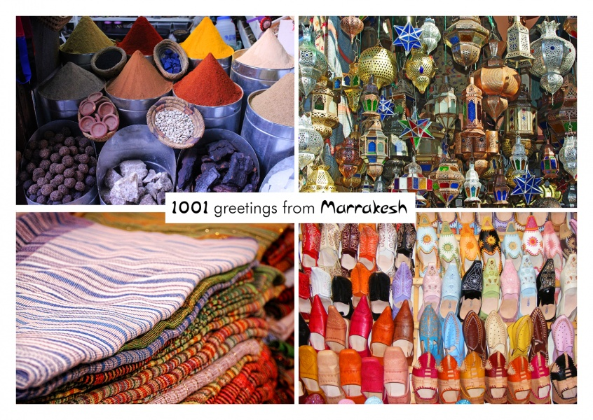 Marrakesh greeting card with closeups of typical spices, lights,fabrics and shoes
