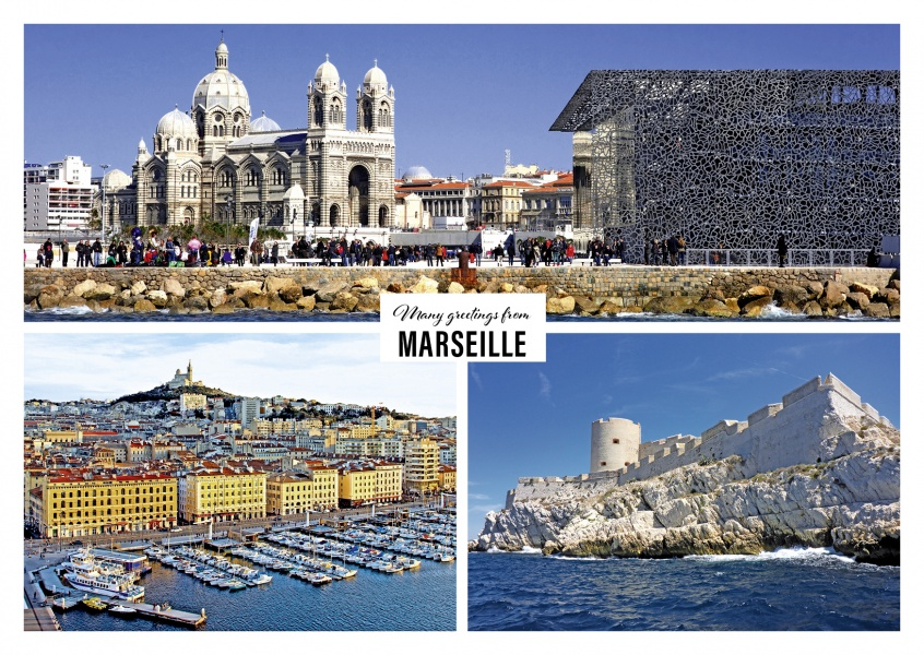 Greeting card from the holidays in Marseille with photos of different typical city themes