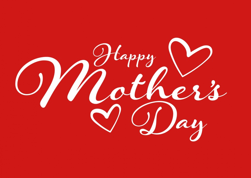 happy mother's day in red n white