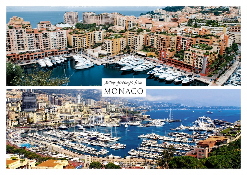 Three photos of Monaco city port ocean