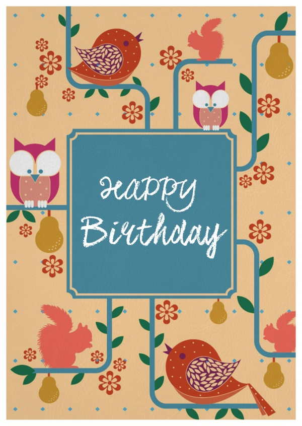 animal themed birthday card