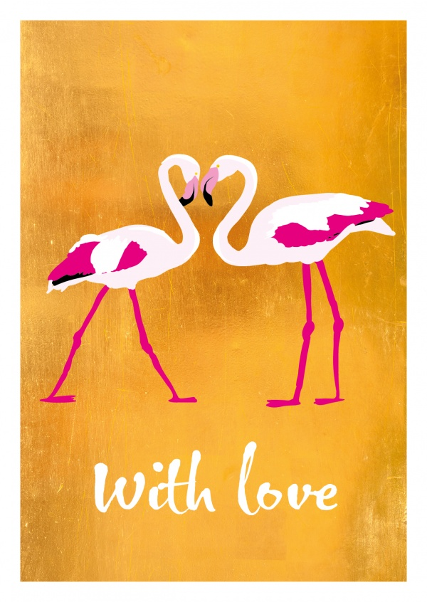 Love greetingcard with flamingo theme