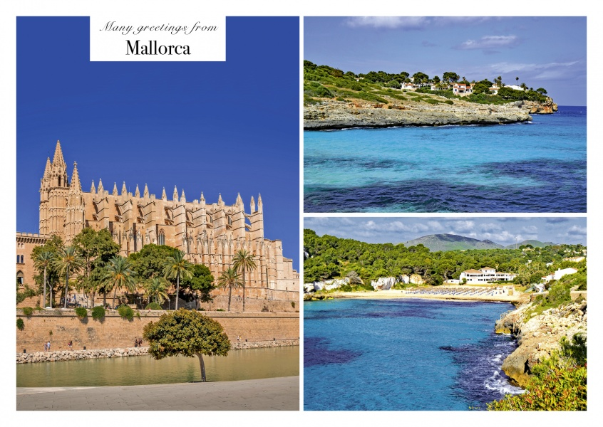 postcard collage palmade mallorca