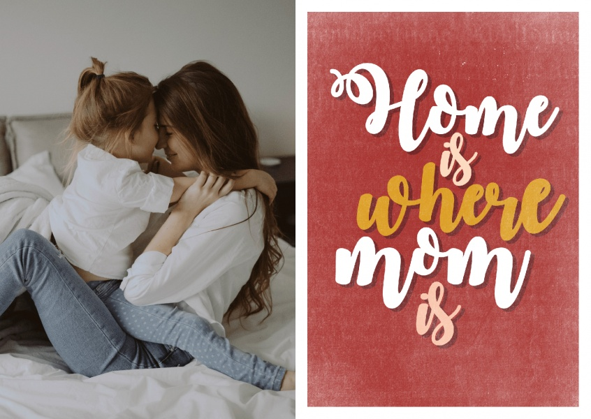 postcard with slogan home is where mom is