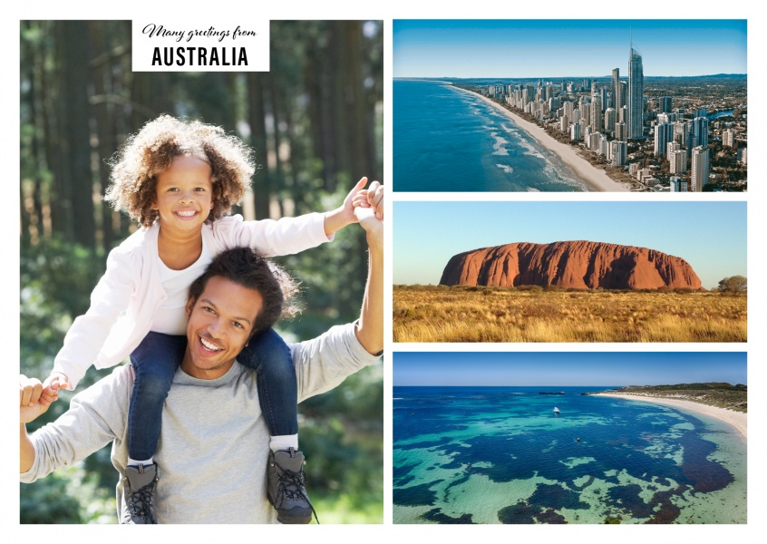 Greetings from australia vacation greetings gerek personalizable greeting card from australia with three photos m4hsunfo