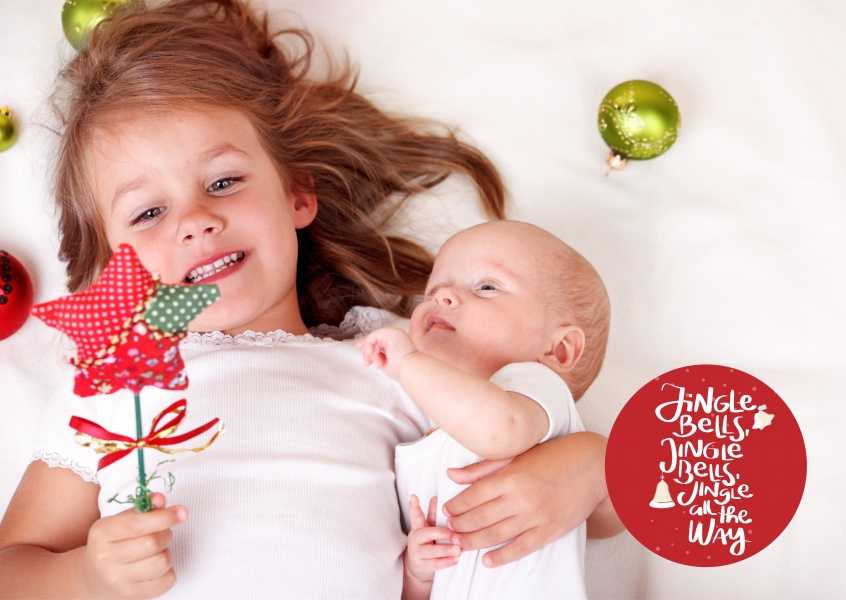 Personalizable christmas card with little jingle bell lettering and baubles