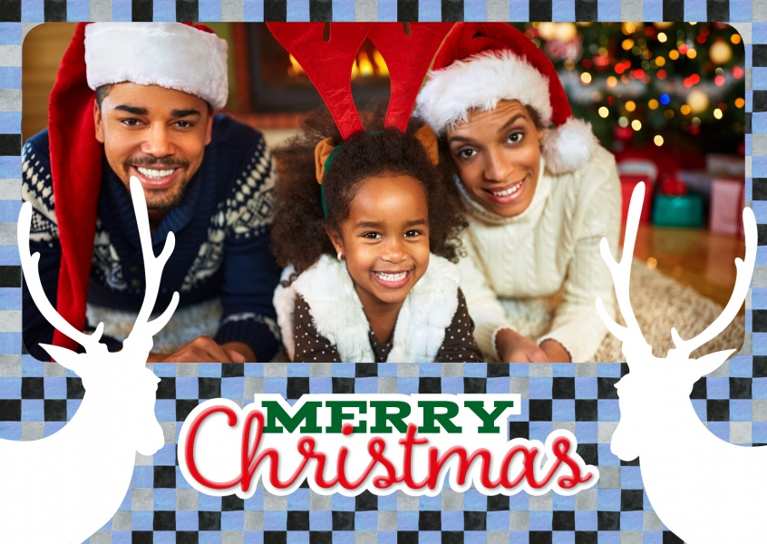 Personalizable christmas card with reindeers on checkerboard pattern