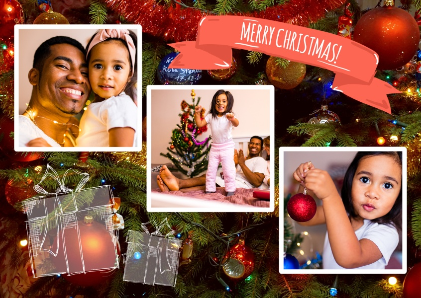 Personalizable christmas card for three pictures with a shining Christmas tree in the background and presents