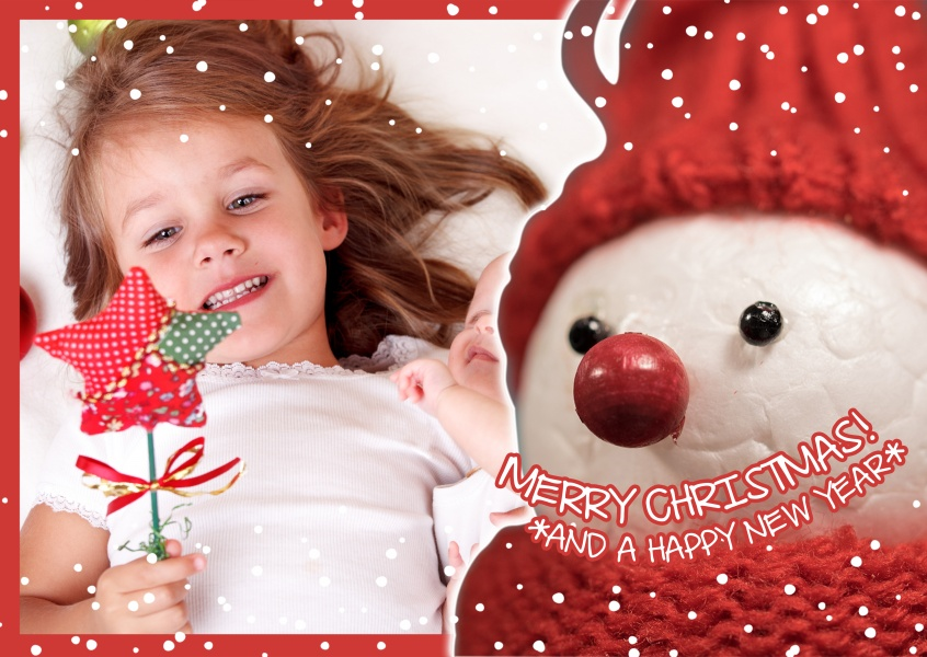 Personalizable christmas greeting card with a snowy snowman