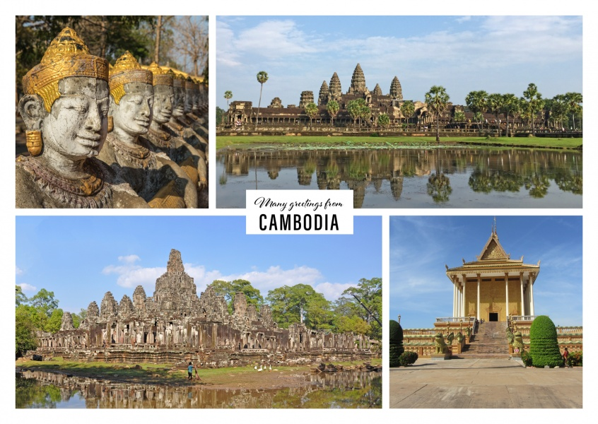 Personalizable greeting card from Cambodia with photos of different attractions
