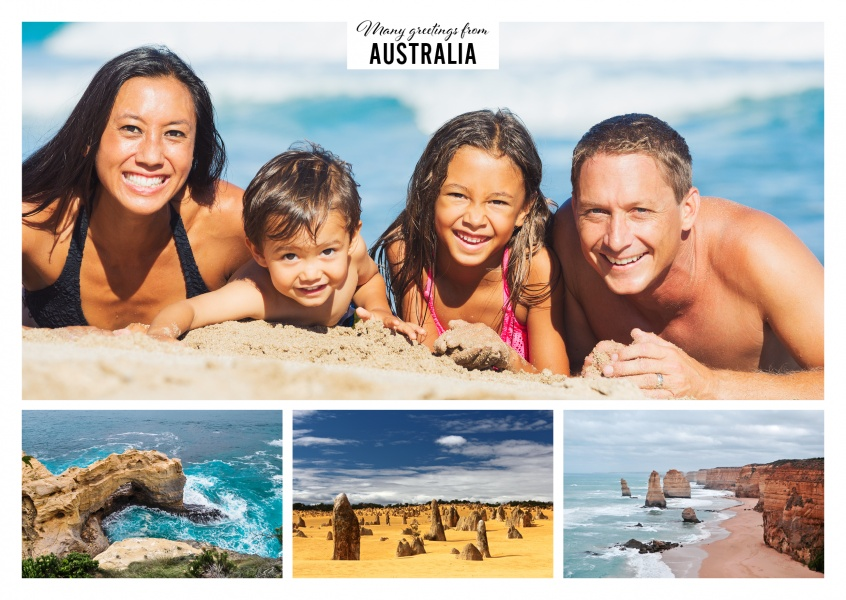 Personalizable greeting card from Australia with three photos of Perth, Port Douglas and another beach