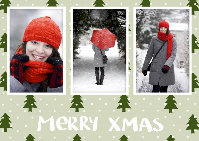 Personalizable christmas card with space for three pictures of your choice and christmastree pattern
