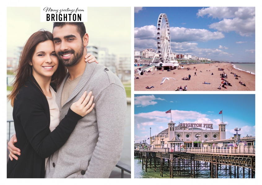 Personalizable greeting card from Brighton with photos of the ferris wheel and the city