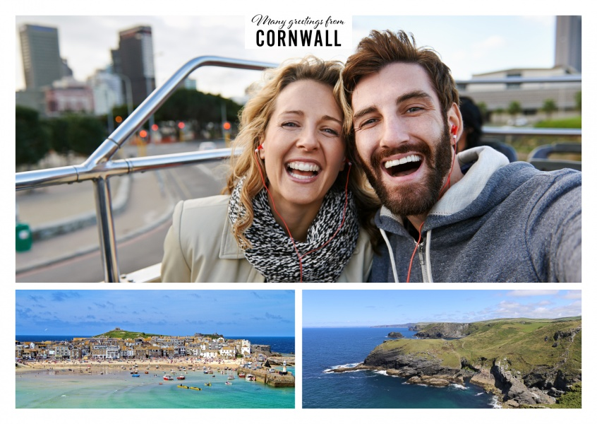 Personalizable greeting card from Cornwall with two panoramas of the coastlines