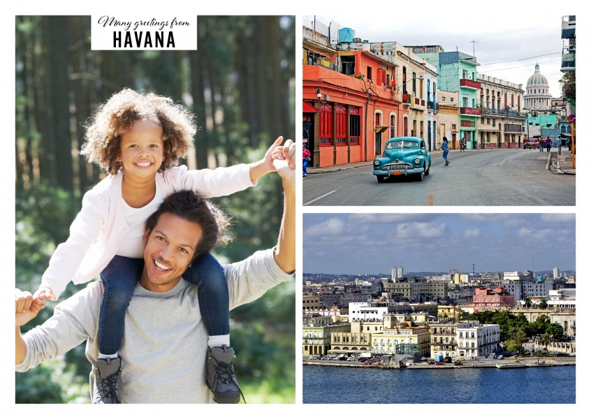 Personalizable greeting card from Havana with two panoramic photos of the cityscape