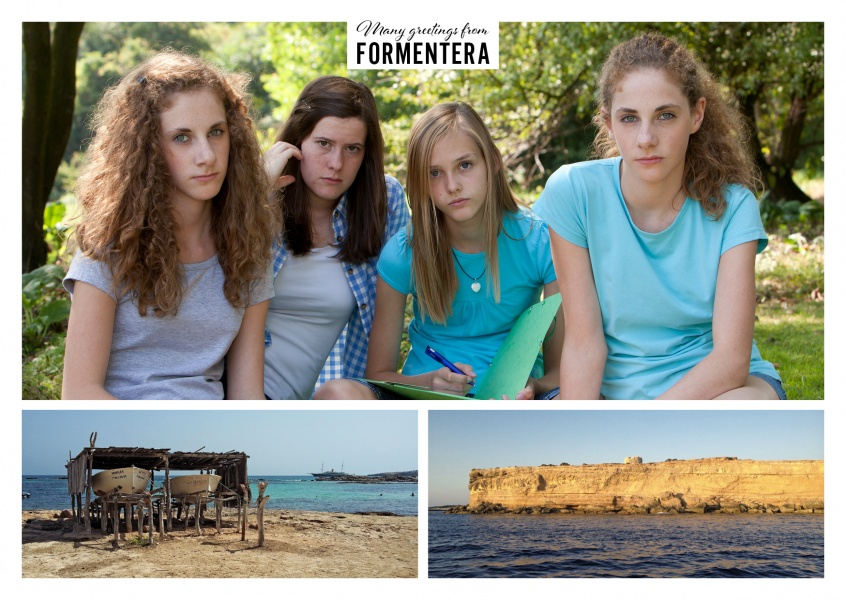 Personalizable greeting card from Formentera in Spain with photos of the coastline