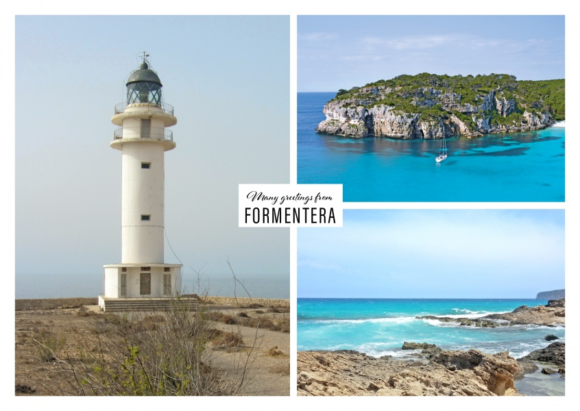 Personalizable greeting card from Formentera - Spain with photos of the ocean and the lighthouse