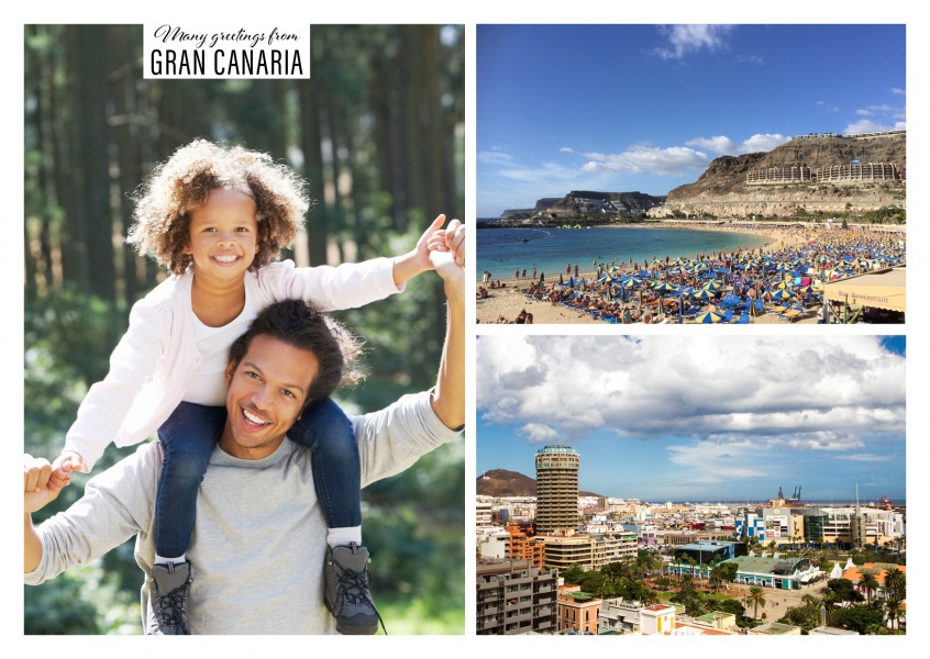 Personalizable greeting card from Gran Canaria with panoramas of a beach and a city