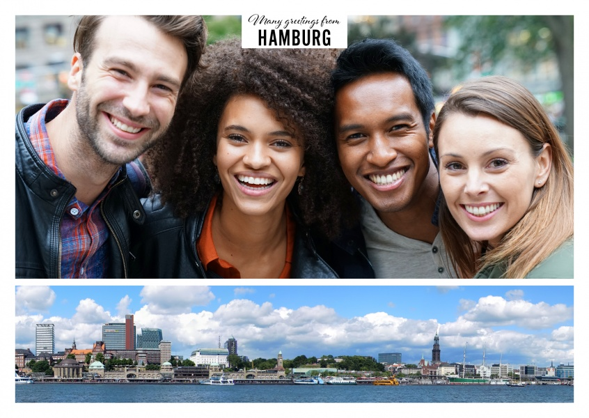 Personalizable greeting card from Hamburg with a panorama