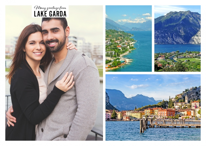 Personalizable greeting card from the Lake Garda with photos of the see, mountains and boats
