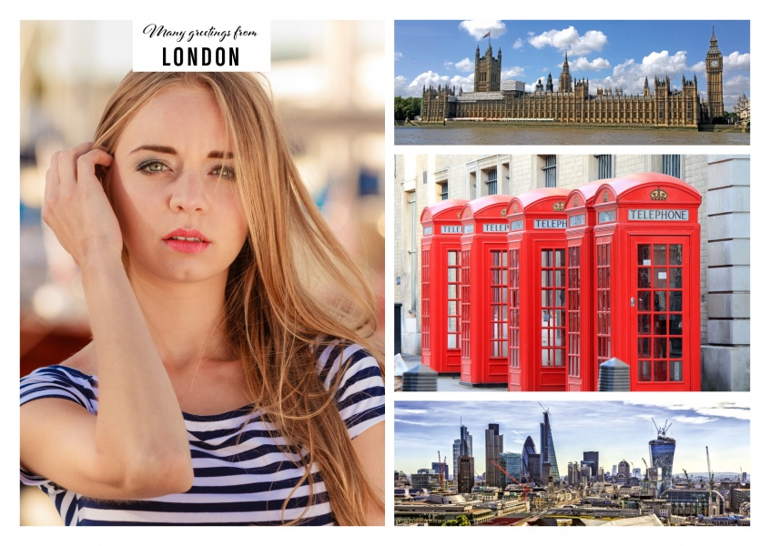 Personalizable greeting card from London with photos of the Houses of Parliament, red telephone boxes and the skyline