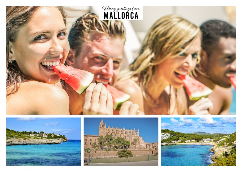 Personalizable greeting card from Mallorca with photos of the beach and Palma de Mallorca