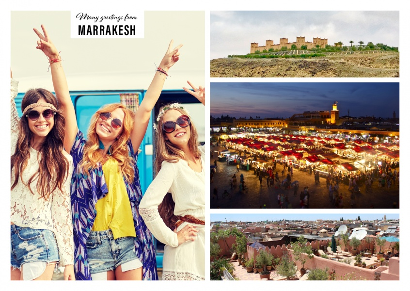 Personalizable greeting card from Marrasch in Marokka with photographies of the city and landscape
