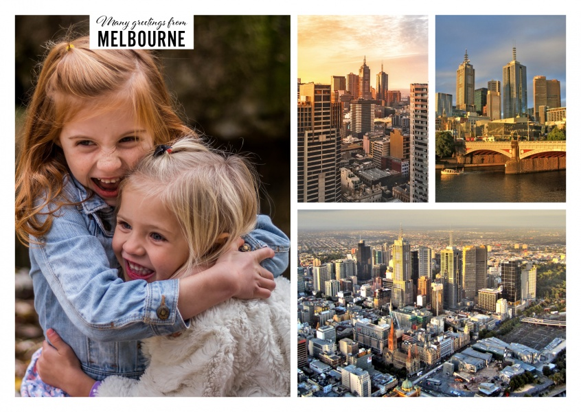 Personalizable greeting card from Melbourne Australia with photos of the city in golden light