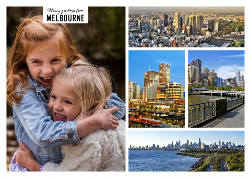 Personalizable greeting card from Melbourne in Australia with photos of the Royal Exhibition building and panoramas