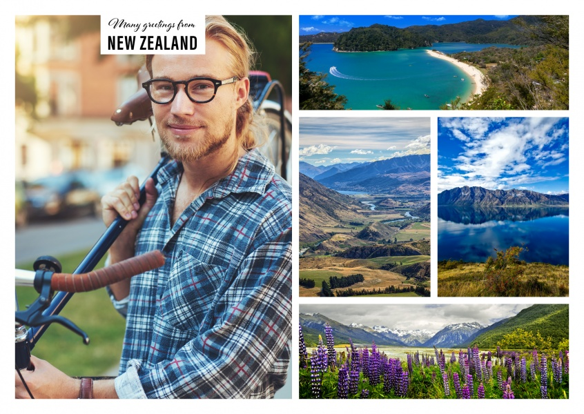 Personalizable greeting card from New Zealand with breathtaking photos of the nature and landscape